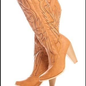 Lolli Couture Heel Casual Knee High Western Boots